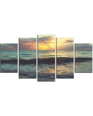 Design Art 'Colorful Bluish Waters at Sunset' 5 Piece Photographic Print on Wrapped Canvas Set, Canvas & Fabric in Brown/Blue | Wayfair PT12215-373