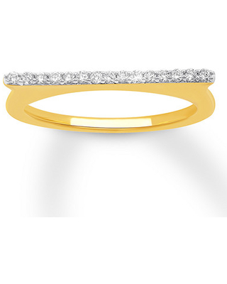 Diamond Flat Top Ring 1/6 ct tw Round-cut 10K Yellow Gold