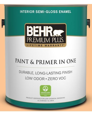 BEHR Premium Plus 1 gal. #P220-4 Dainty Apricot Semi-Gloss Enamel Low Odor Interior Paint and Primer in One