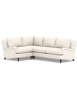 Carlisle Upholstered Right Arm 3-Piece Corner Sectional, Down Blend Wrapped Cushions, Performance Chateau Basketweave Ivory