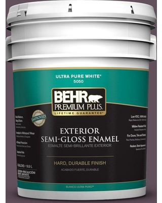 BEHR Premium Plus 5 gal. #S100-7 Medieval Wine Semi-Gloss Enamel Exterior Paint and Primer in One