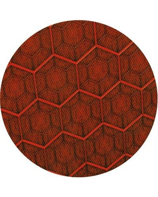 East Urban Home Wool Red Area Rug W001077981 Rug Size: Round 3'
