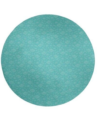 East Urban Home Color Background Pizza Pattern Poly Chenille Rug EBKQ9097 Rug Size: Round 5'