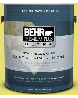 BEHR Premium Plus Ultra 1 gal. #400B-4 Citron Satin Enamel Interior Paint and Primer in One