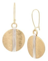 Robert Lee Morris Two Tone Two-Tone Wire Wrapped Circle Drop Earrings