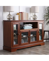 Manor Park Transitional Highboy Glass Door Wood TV Stand, Rustic Brown