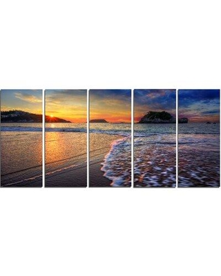 Design Art 'Sandy Beach with Rush Waves' 5 Piece Photographic Print on Wrapped Canvas Set PT14635-401