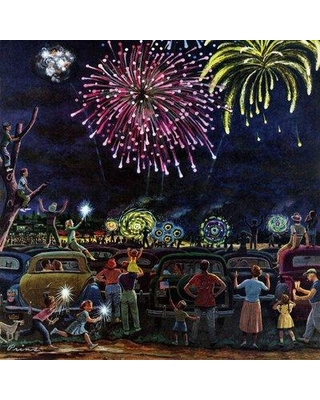 """Marmont Hill Fireworks by Ben Kimberly Prins Painting Print on Wrapped Canvas MH-RETR-248-C- Size: 24"""" H x 24"""" W"""