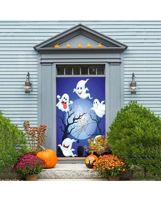 """The Holiday Aisle Halloween Ghosts Door Mural W000625279 Size: 80"""" H x 30/32"""" W"""