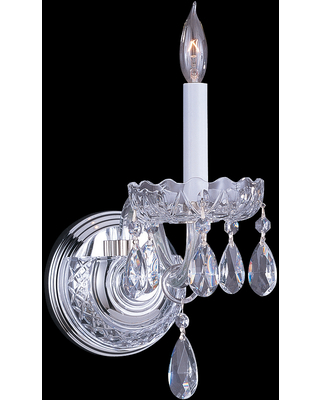 Crystorama Traditional Crystal 9 inch Wall Sconce in Polished Chrome with Clear Swarovski Strass Crystals