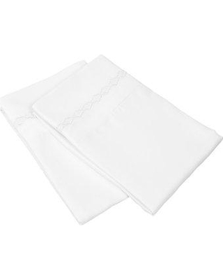Charlton Home Warrenville Solid Clouds Embroidery Pillowcase W001171080 Size: King Color: White