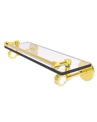 Allied Brass Clearview Collection Glass Shelf with Gallery Rail (Polished Brass - 16 Inch)