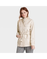 Women's Faux Leather Anorak Jacket - A New Day Stone XL, Grey
