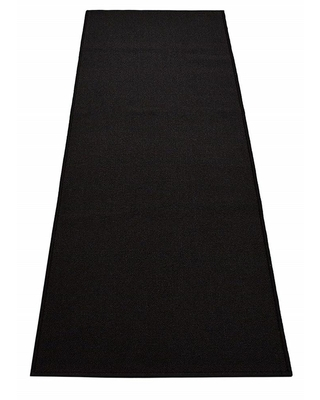 RugStylesOnline Rubber Collection Solid Black 22 in. Width x Your Choice Length Custom Size Runner Rug