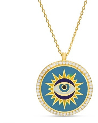 Womens Multicolored Enamel and Cubic Zirconia Evil Eye Necklace
