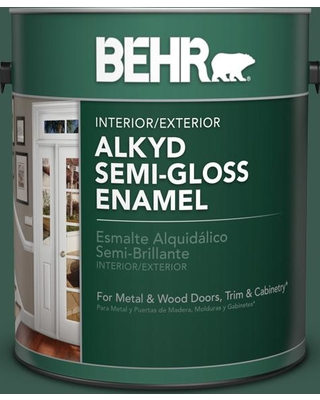 BEHR 1 gal. #PFC-45 Patio Green Urethane Alkyd Semi-Gloss Enamel Interior/Exterior Paint