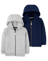 Child of Mine by Carter's Baby Boy & Toddler Boy French Terry Zip-up Hoodie Sweatshirts, 2-Pack (12M-5T)