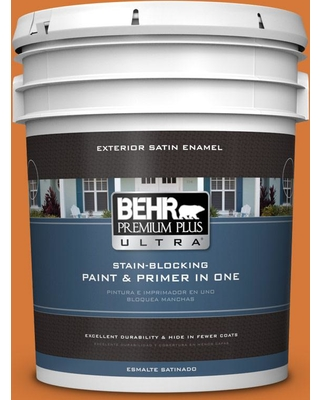 BEHR Premium Plus Ultra 5 gal. #T17-19 Fired Up Satin Enamel Exterior Paint and Primer in One