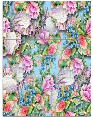 Amazing Sales On Design Art Pink Flower Pattern On Blue 3 Piece Painting Print On Wrapped Canvas Set Canvas Fabric In Brown Blue Pink Size Large 33 40