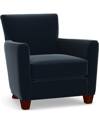 Irving Square Arm Upholstered Armchair without Nailheads, Polyester Wrapped Cushions, Performance Plush Velvet Navy