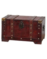 Vintiquewise Antique Style Wooden Small Trunk - Brown