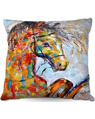 """Ebern Designs Satterlee Couch Horse Portrait II Throw Pillow W001530077 Size: 18"""" x 18"""""""