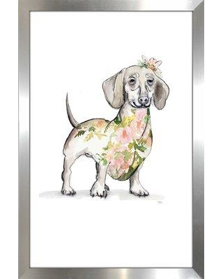 """Winston Porter 'Happy Doggie' Watercolor Painting Print BF163781 Size: 39.5"""" H x 27.5"""" W x 0.75"""" D Format: Picture Frame"""
