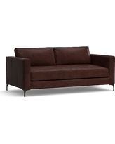 """Jake Leather Loveseat 70"""", Polyester Wrapped Cushions, Leather Statesville Espresso"""