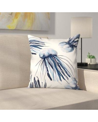 "East Urban Home Jetty Printables Jellyfish Watercolor Throw Pillow EUHG3966 Size: 20"" x 20"""
