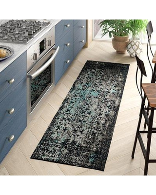 """World Menagerie Kheir Abstract Navy / Teal Area Rug XENH8481 Rug Size: Runner 2'3"""" x 8'"""