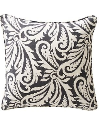 """Wynnfield Paisley Print Pillow Cover, 20"""", Black/Ivory"""