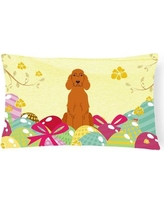 The Holiday Aisle® Easter Eggs Irish Setter Lumbar PillowPolyester/Polyfill/Polyester/Polyester blend in Brown/Pink/White   Wayfair