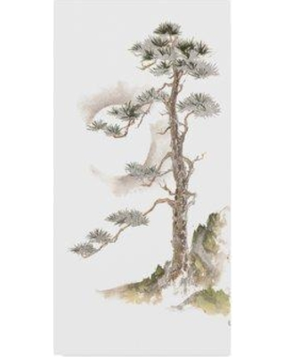 """Winston Porter 'Moon Pine on White' Acrylic Painting Print on Wrapped Canvas WNST6538 Size: 32"""" H x 16"""" W x 2"""" D"""