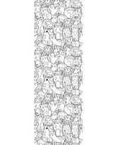 """East Urban Home Baldwin Removable Nursery Doodle Cats Seamless Self 8.33' L x 25"""" W Peel and Stick Wallpaper Roll BF183024"""