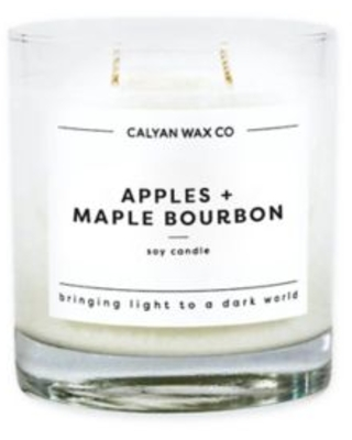 Calyan Wax Co. Apples + Maple Bourbon Glass Tumbler Soy Candle