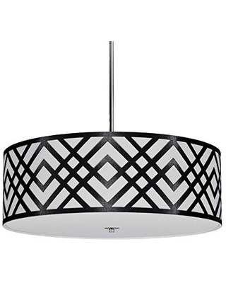 Dainolite Ltd MON-244P-PC-BW Transitional Four Light Pendant from Mona Collection in Black Finish, 24.00 inches