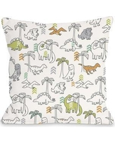 "One Bella Casa Baby Dinos Throw Pillow 72502PL16 / 72502PL18 Size: 18"" H x 18"" W x 3"" D"