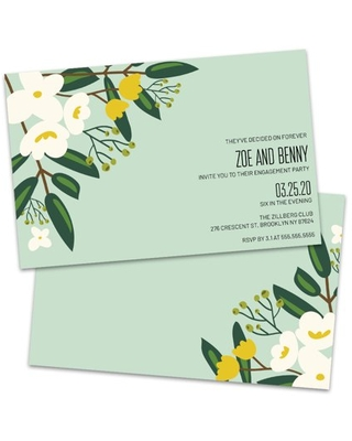 Personalized Large Floral Engagement Party Invitation