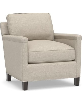 Tyler Square Arm Upholstered Armchair without Nailheads, Down Blend Wrapped Cushions, Performance Chateau Basketweave Oatmeal