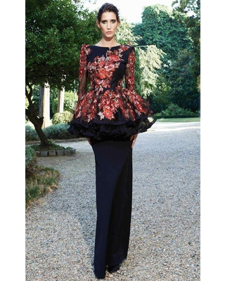 MNM Couture - Floral Lace Long Sleeve Sheath Dress N0125