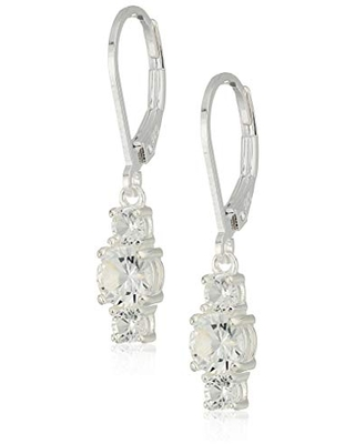 Collection Sterling Silver Genuine and Created Gemstone Three Stone Birthstone Leverback Dangle Earrings
