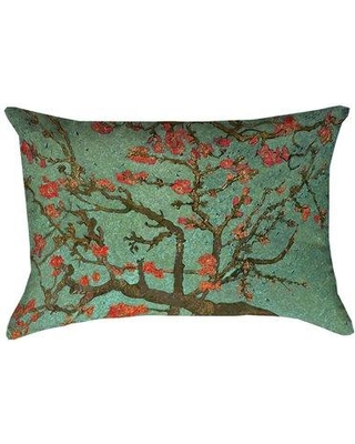Bloomsbury Market Lei Almond Blossom Suede Lumbar Pillow BBMT6863 Color: Green/Red