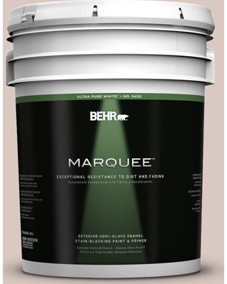 BEHR MARQUEE 5 gal. #PPU2-06 Wisp of Mauve Semi-Gloss Enamel Exterior Paint and Primer in One