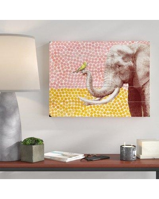"""Wrought Studio 'Elephant and Bird' Graphic Art Print VRKG7278 Size: 25"""" H x 34"""" W x 2"""" D Format: Planked Wood"""