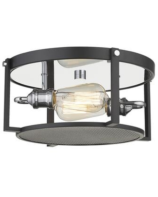 Halcyon Collection 723F13-MB+CH 2 Light Flush Mount in Matte Black and