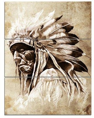 "Design Art Vintage Style Indian Head Tattoo - 3 Piece Wall Art on Wrapped Canvas Set, Canvas & Fabric in Brown, Size Medium 25""-32"" 