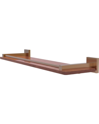 Allied Brass Montero Collection 22 in. Solid IPE Ironwood Shelf with Gallery Rail in Brushed Bronze
