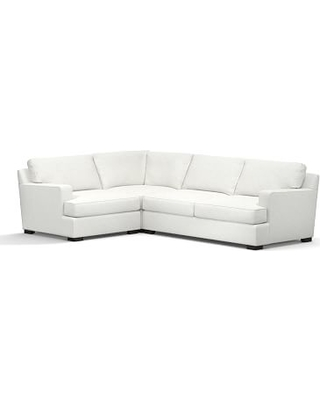 Townsend Square Arm Upholstered Right Arm 3-Piece Corner Sectional, Polyester Wrapped Cushions, Performance Slub Cotton White