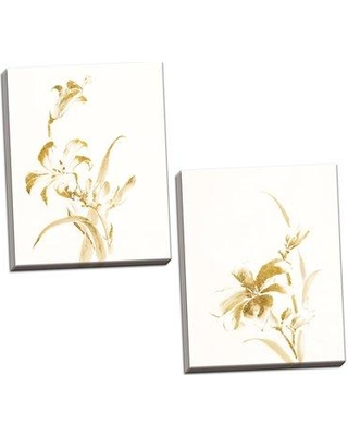 """Winston Porter 'Sumi Daylily II & IV Gold' 2 Piece Watercolor Painting Print Set BF173249 Format: Wrapped Canvas Size: 20"""" H x 16"""" W x 0.75"""" D"""