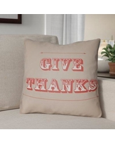 """The Holiday Aisle Give Thanks Square Indoor/Outdoor Throw Pillow THDA8980 Size: 20"""" H x 20"""" W x 4"""" D, Color: Beige/Orange"""